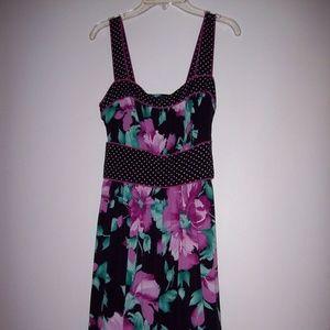 Women's Petite Black Pink Floral Party Sundress